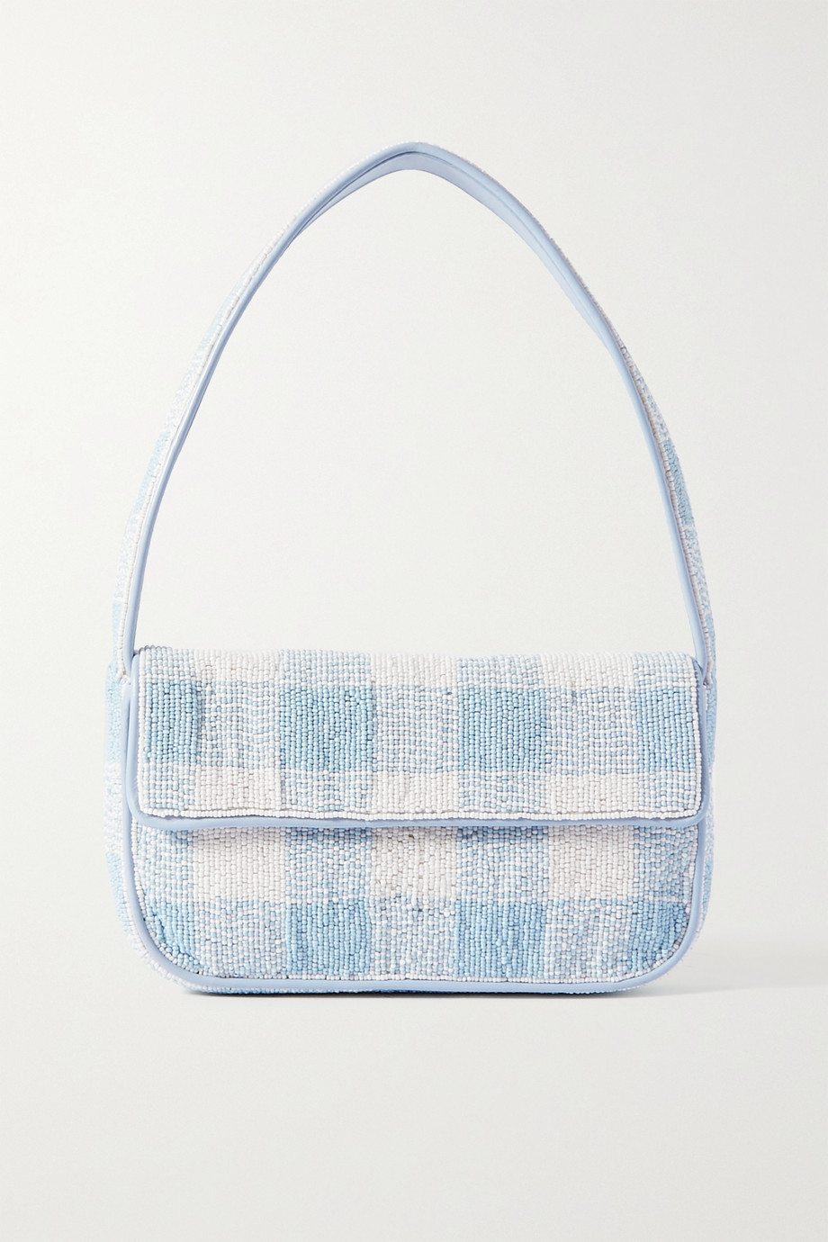 STAUD Tommy beaded gingham leather shoulder bag