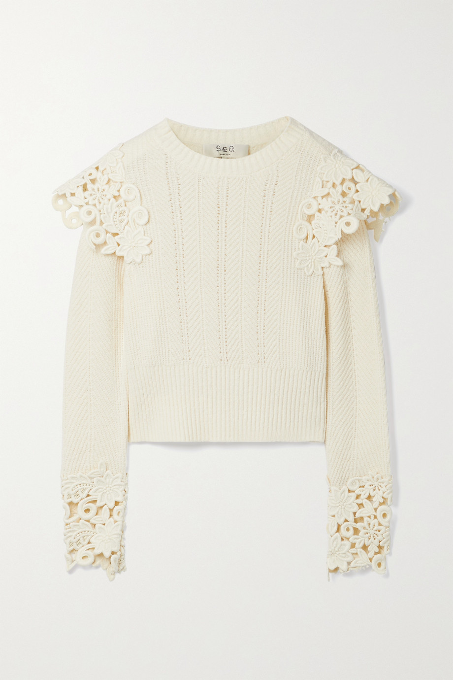 Sea Zandra guipure lace-trimmed ribbed cotton-blend sweater
