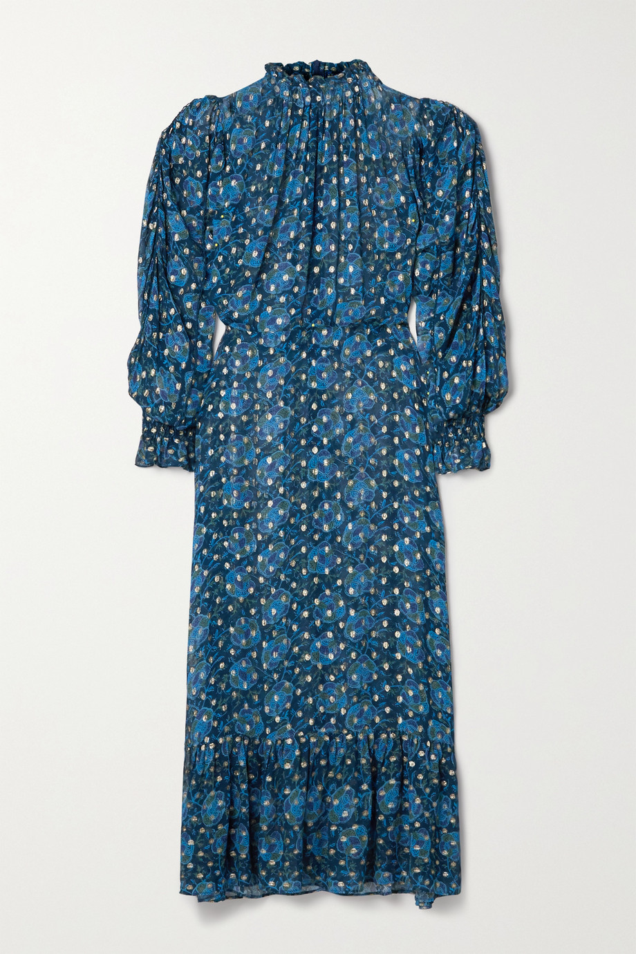Sea Pintucked floral-print fil coupé georgette maxi dress