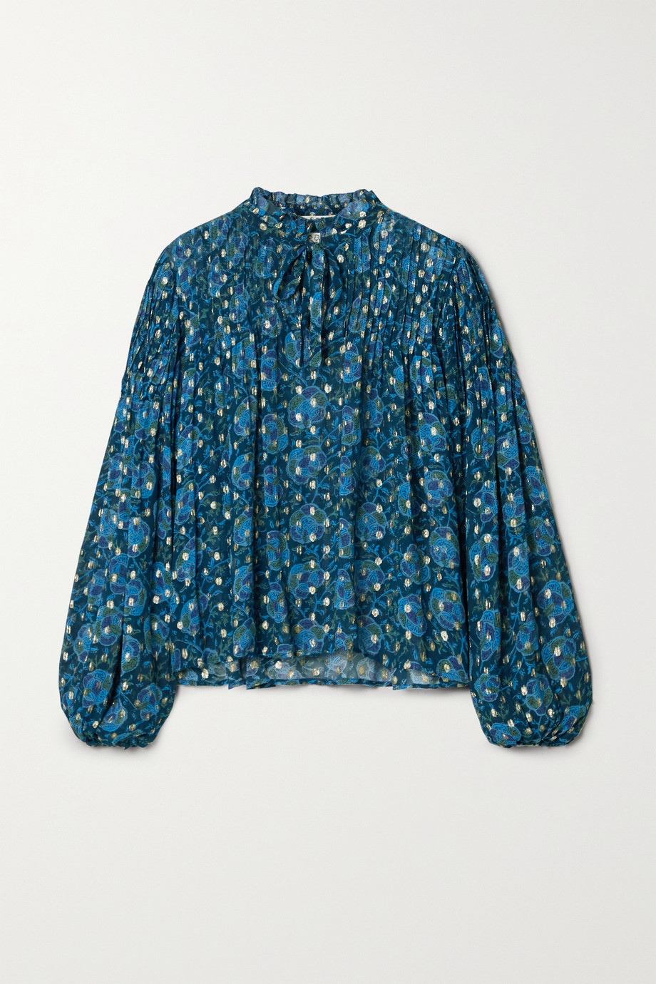 Sea Positano pintucked floral-print fil coupé georgette blouse