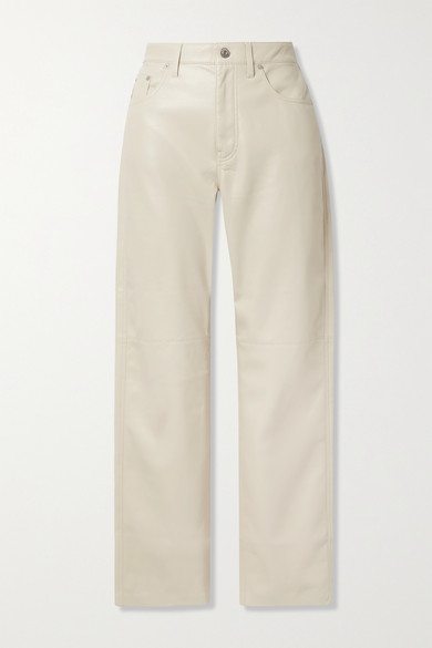 Nanushka - Vinni Cropped Vegan Leather Pants - Cream
