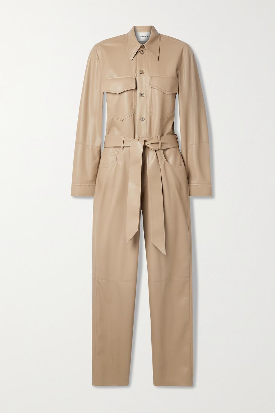 Nanushka Ashton belted vegan stretch-leather jumpsuit