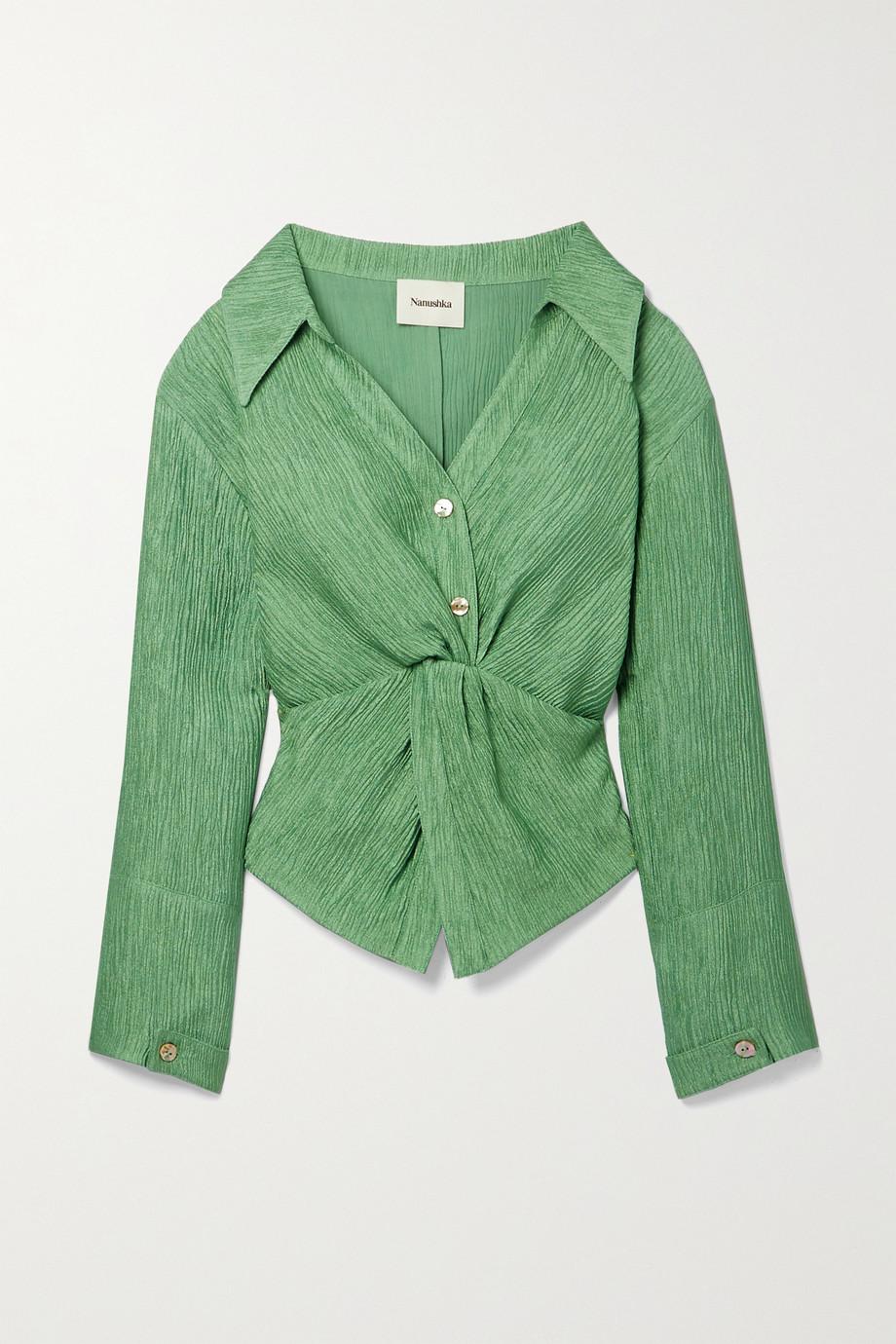 Nanushka Idris twist-front metallic plissé-crepe shirt