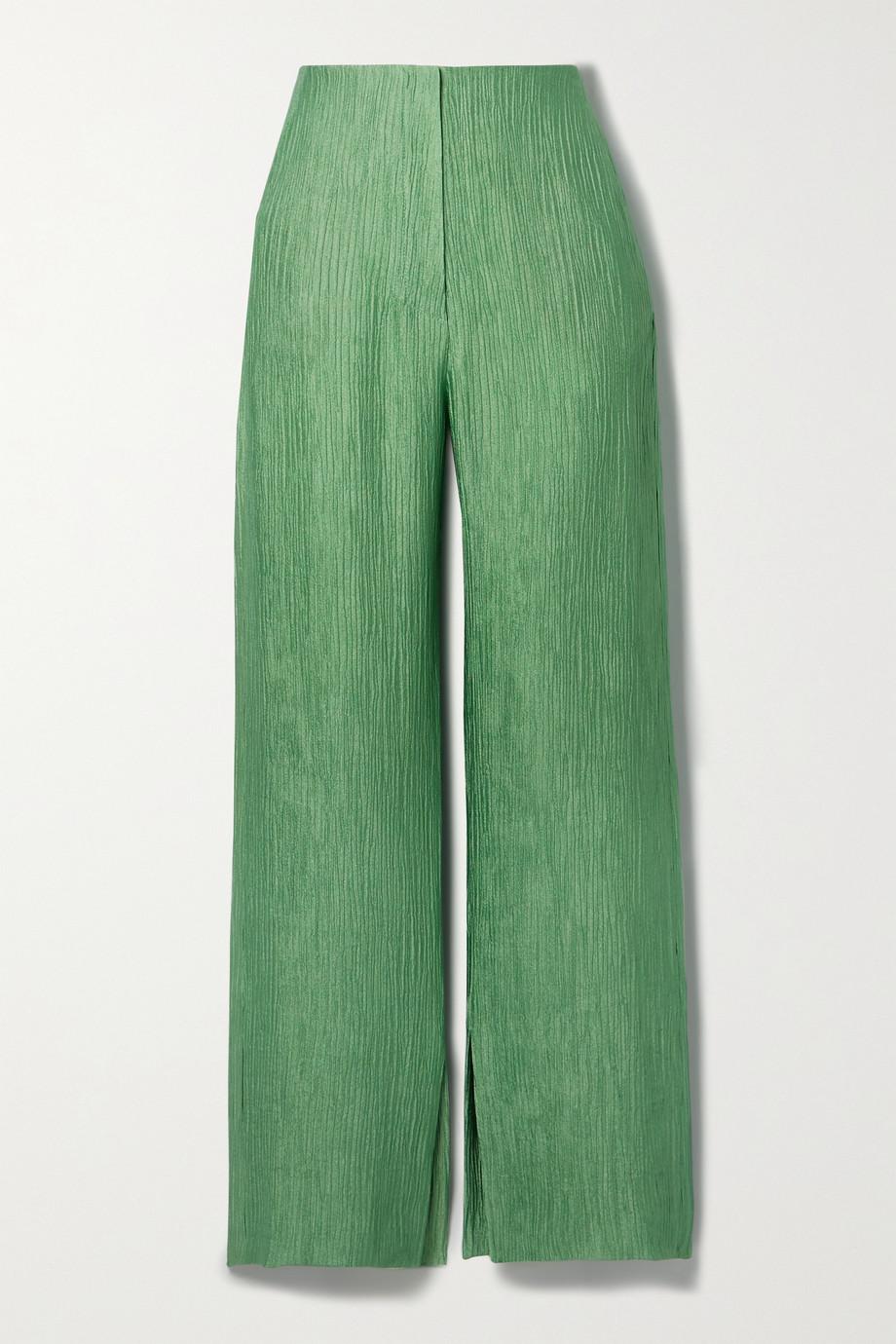 Nanushka Tabbie 金属感细褶绉纱直筒裤