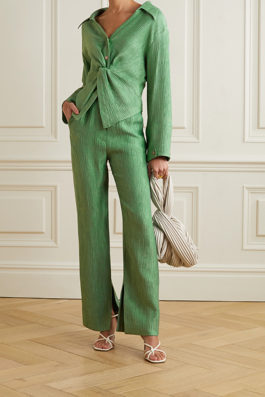 Nanushka Tabbie metallic plissé-crepe straight-leg pants