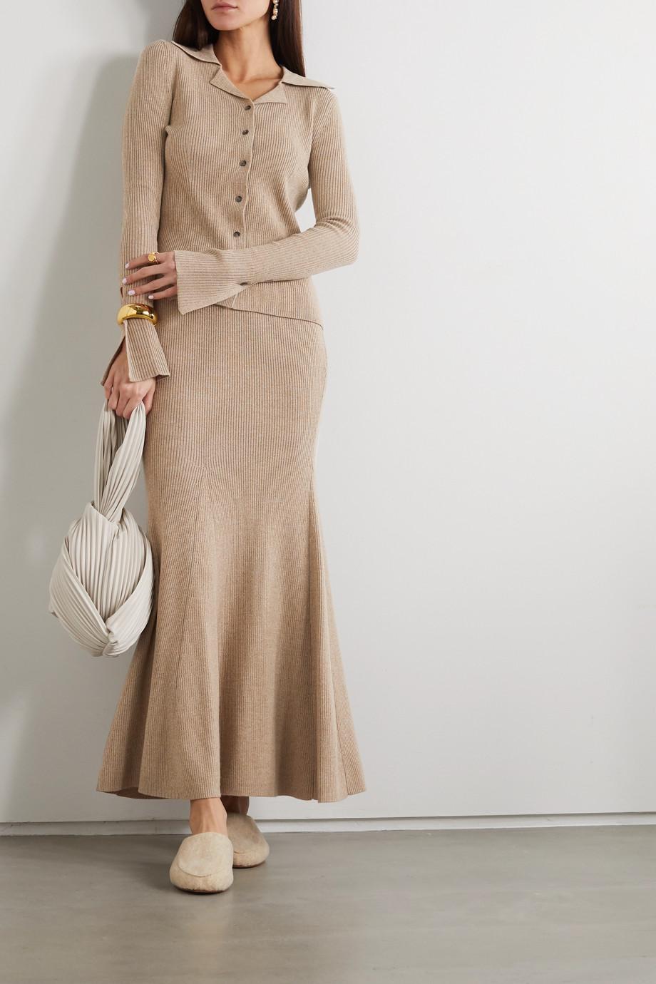 Nanushka 【NET SUSTAIN】罗纹混色羊毛混纺衬衫