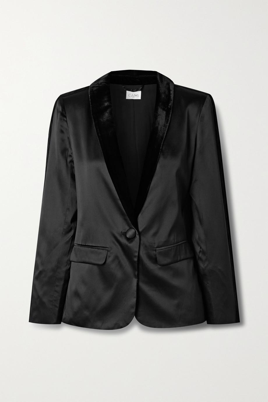 Cami NYC Audrey velvet-trimmed silk-charmeuse blazer