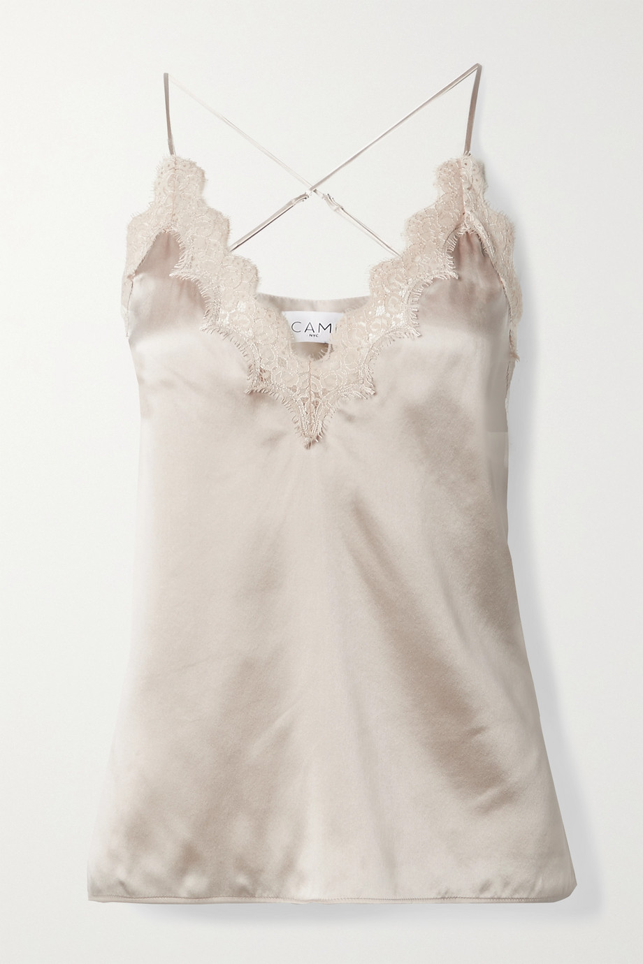 Cami NYC The Everly Top aus Seiden-Charmeuse mit Spitzenbesatz