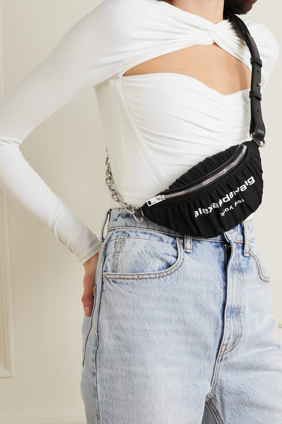 Alexander Wang Attica ruched printed nylon belt bag