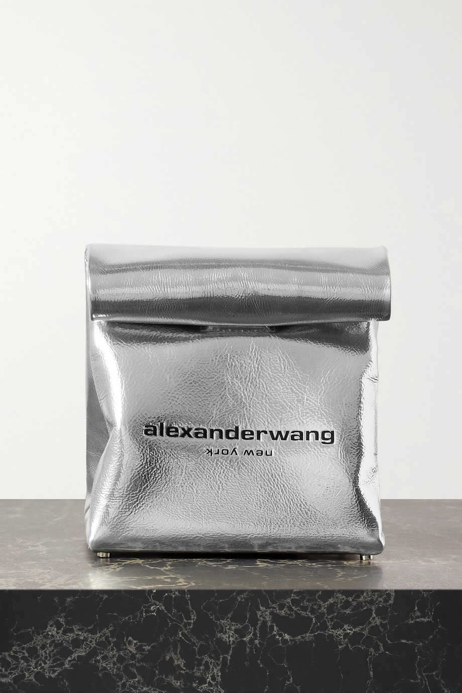 Alexander Wang Lunch Bag embossed metallic crinkled-leather clutch