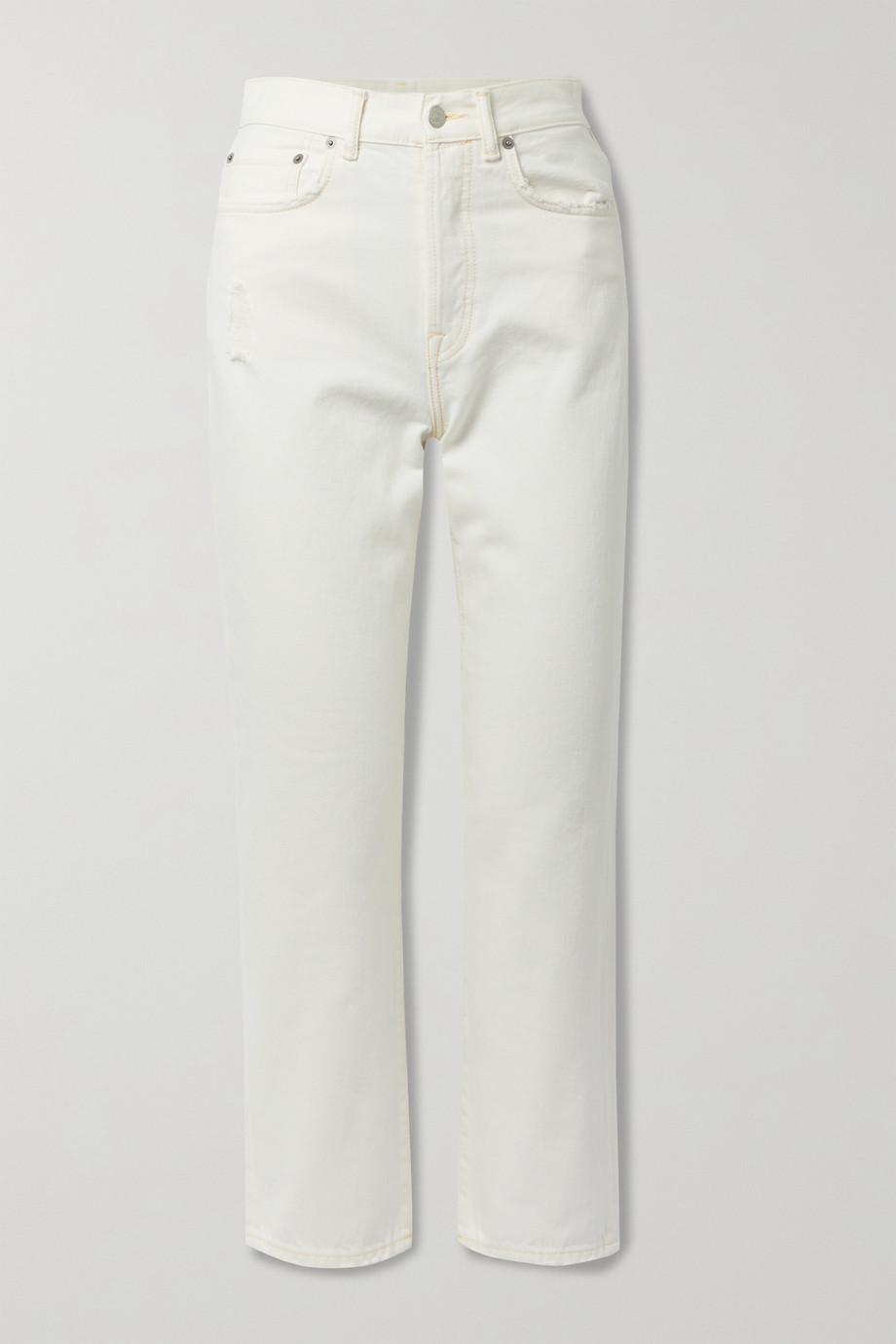 Acne Studios + NET SUSTAIN verkürzte, hoch sitzende Jeans mit geradem Bein aus Bio-Denim in Distressed-Optik