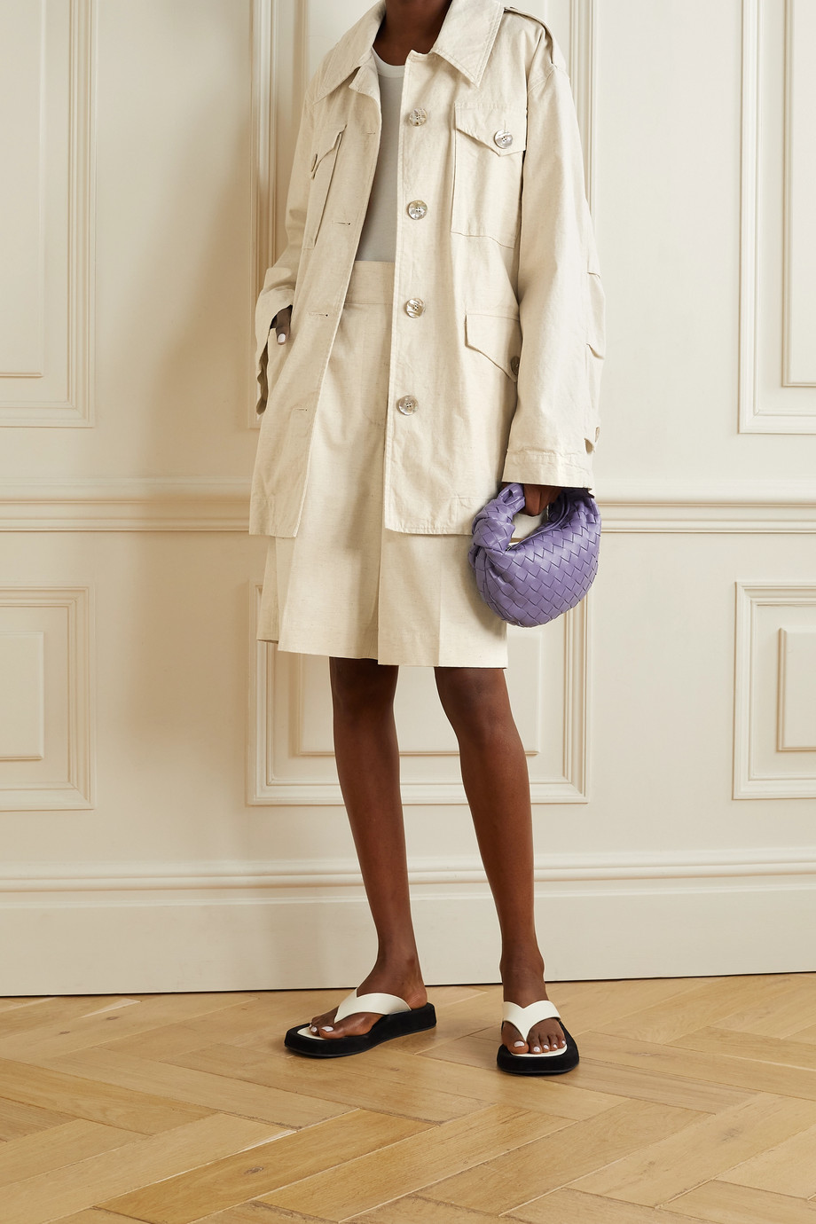 Acne Studios Belted cotton and linen-blend canvas jacket