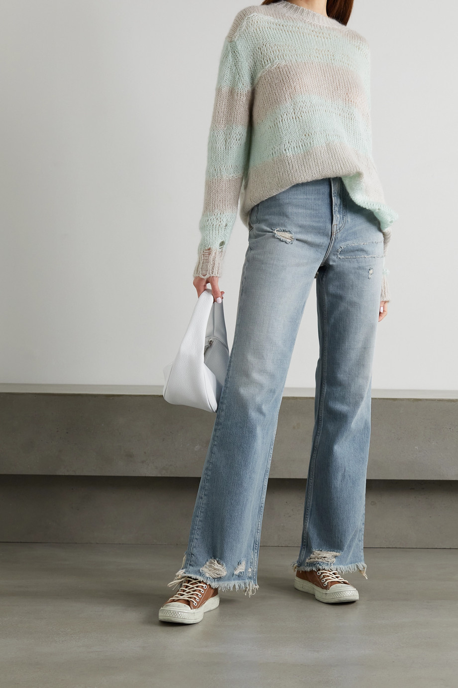 Acne Studios Distressed high-rise bootcut jeans