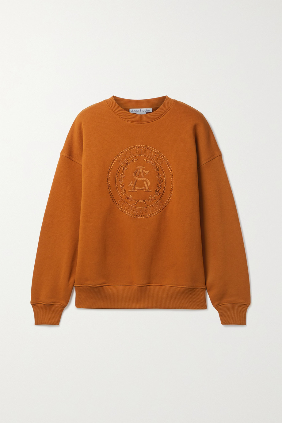 Acne Studios + NET SUSTAIN embroidered organic cotton-jersey sweatshirt