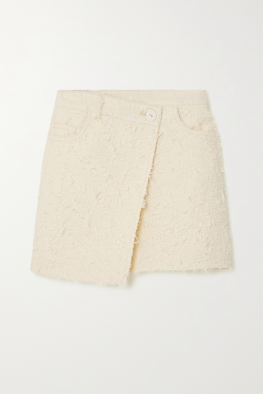 Acne Studios Asymmetric wrap-effect bouclé-tweed mini skirt