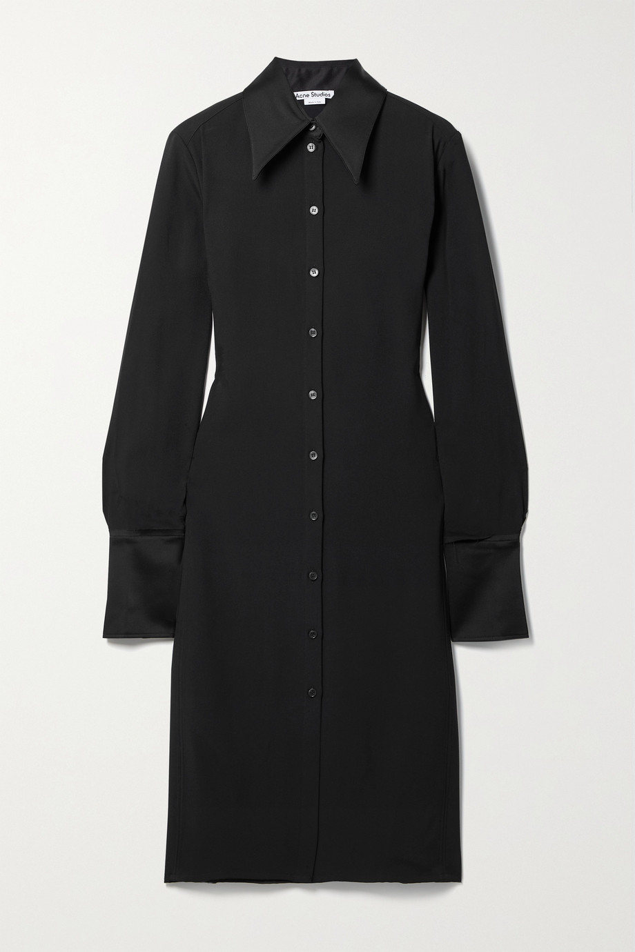 Acne Studios Satin-trimmed crepe shirt dress