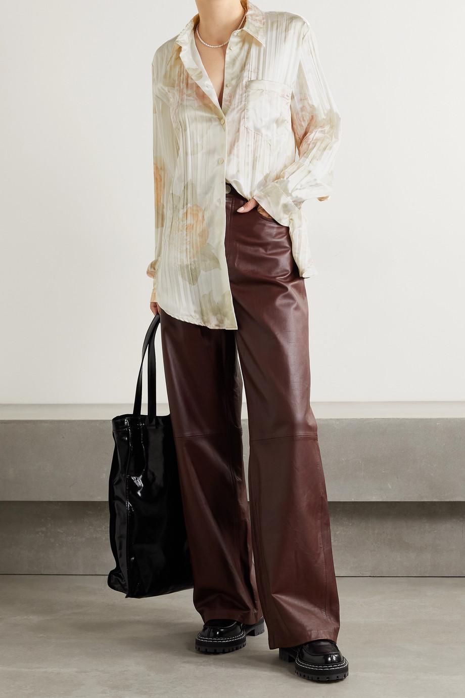 Acne Studios Floral-print satin shirt