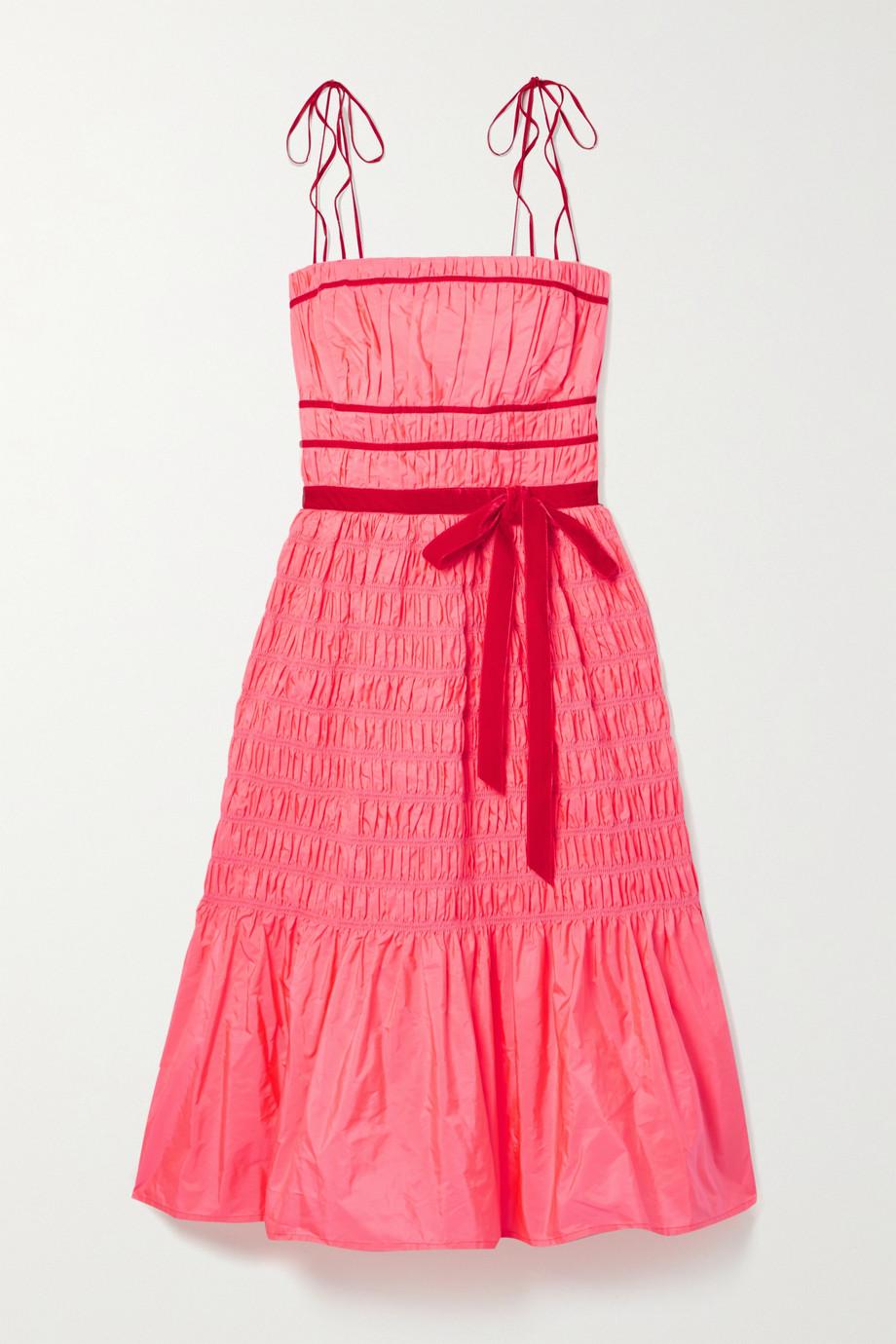 Molly Goddard Joyce velvet-trimmed shirred taffeta dress