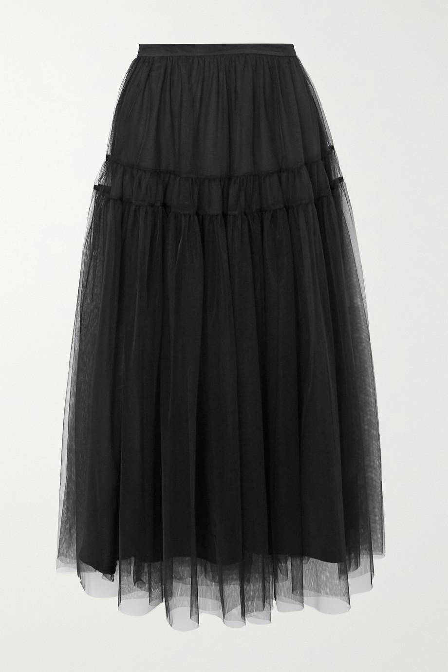 Molly Goddard Lottie tiered gathered tulle midi skirt
