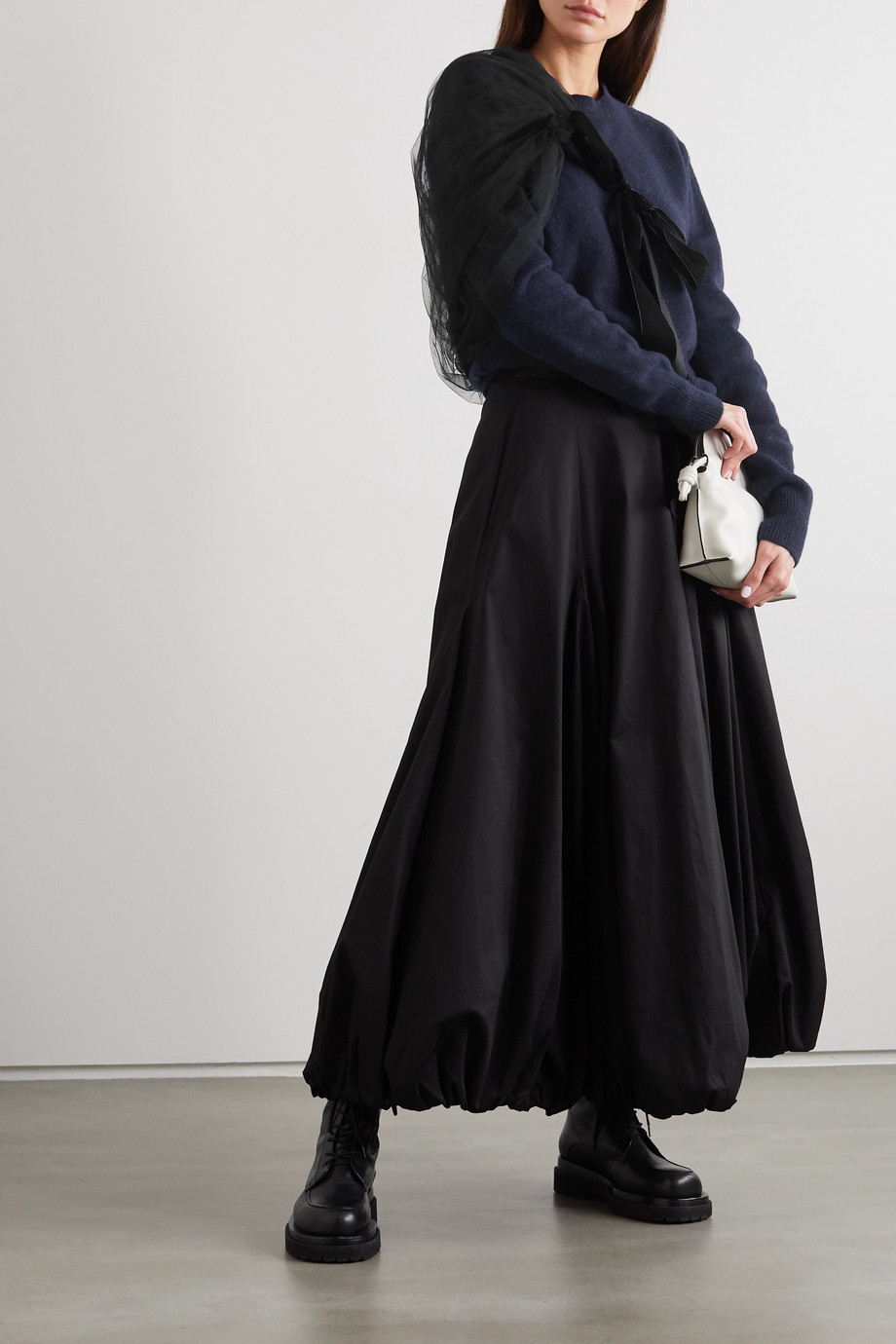 Molly Goddard Eliza layered velvet-trimmed tulle and wool sweater