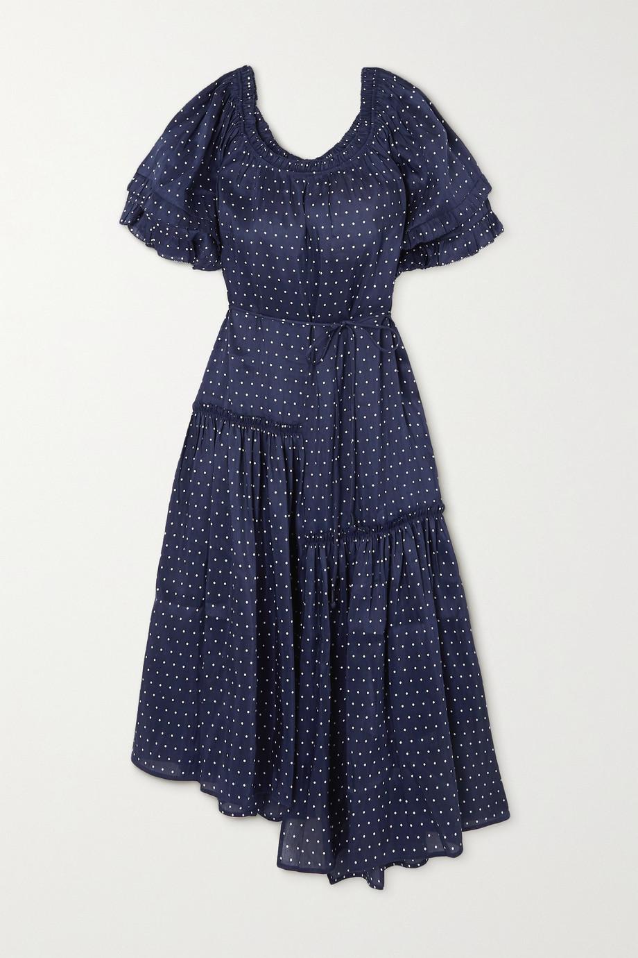 APIECE APART Sandrine asymmetric ruffled polka-dot linen and silk-blend dress