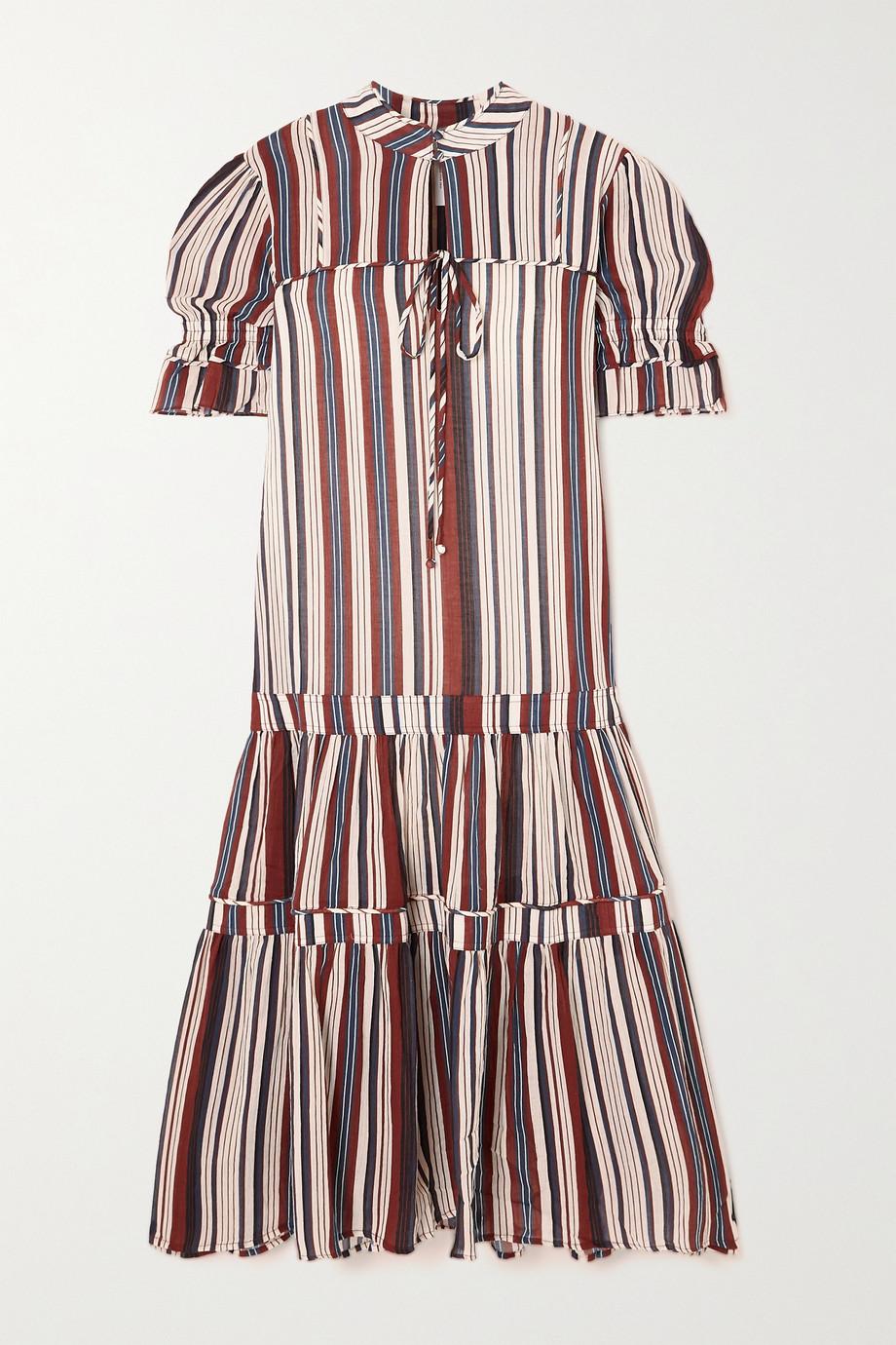 APIECE APART Los Altos tiered striped cotton-crepe midi dress