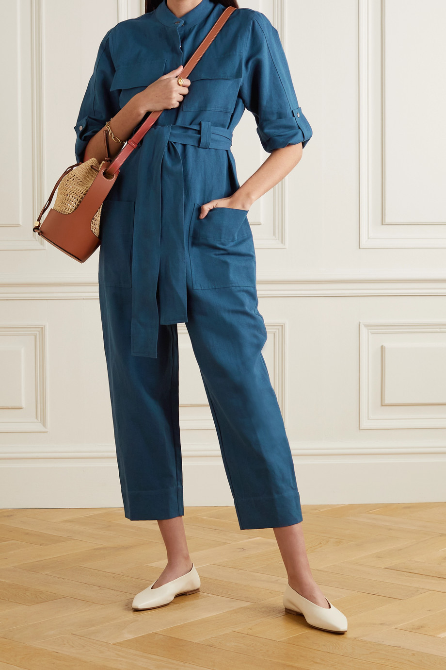APIECE APART Kiva cropped belted linen and cotton-blend twill jumpsuit