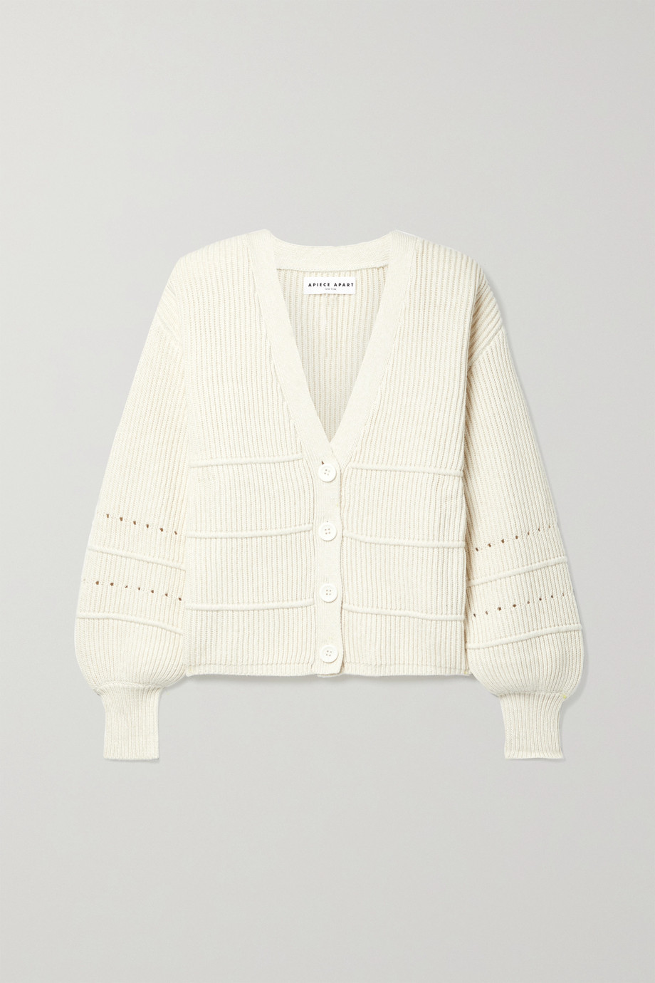 APIECE APART Ana pointelle-trimmed cotton and cashmere-blend cardigan