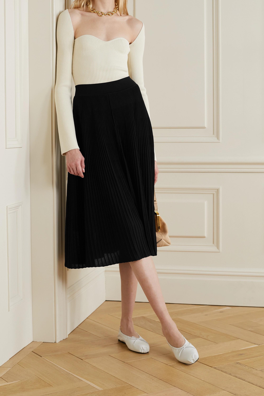 CASASOLA + NET SUSTAIN Berta ribbed mulberry silk midi skirt
