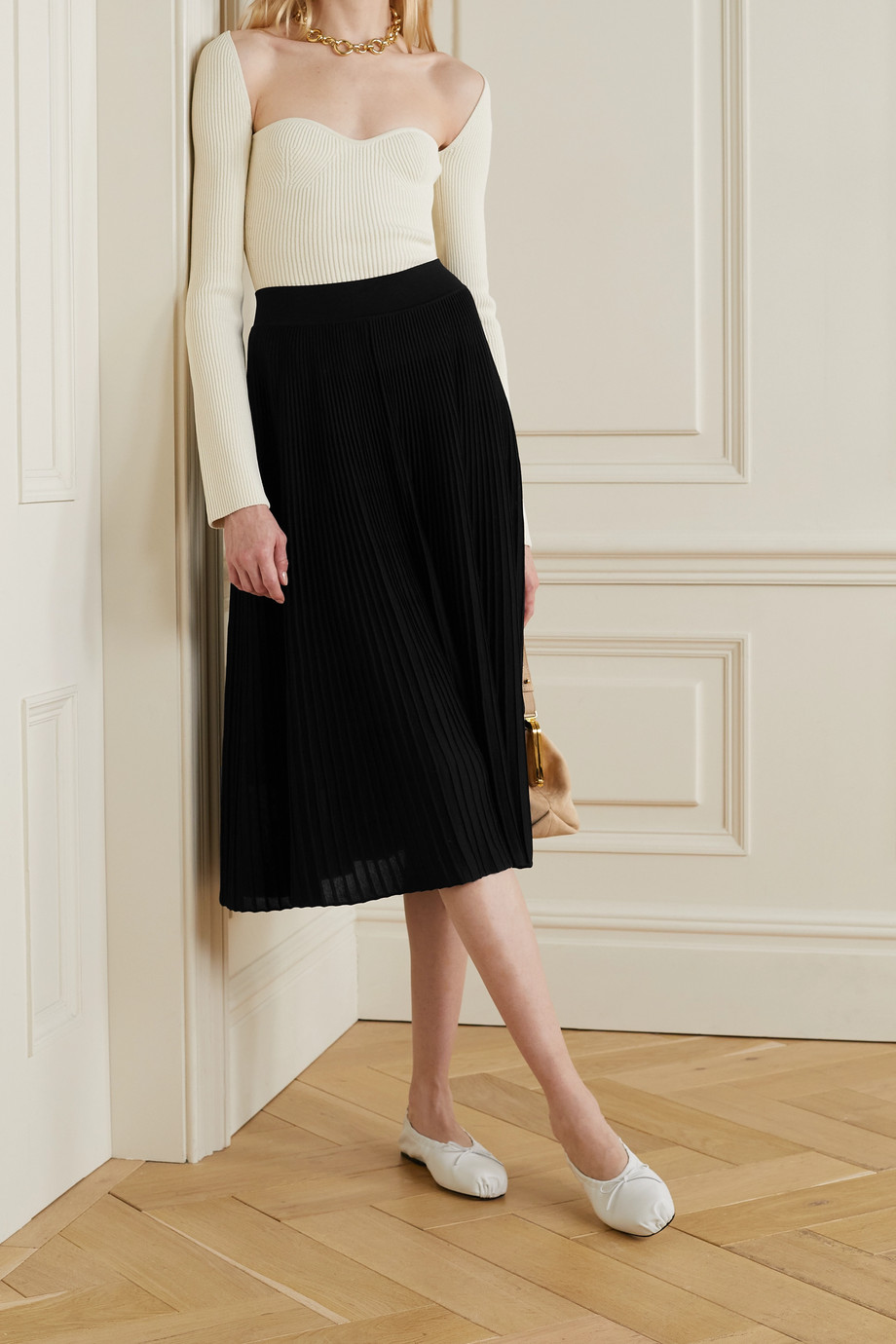 CASASOLA + NET SUSTAIN Berta ribbed mulberry silk midi skirt