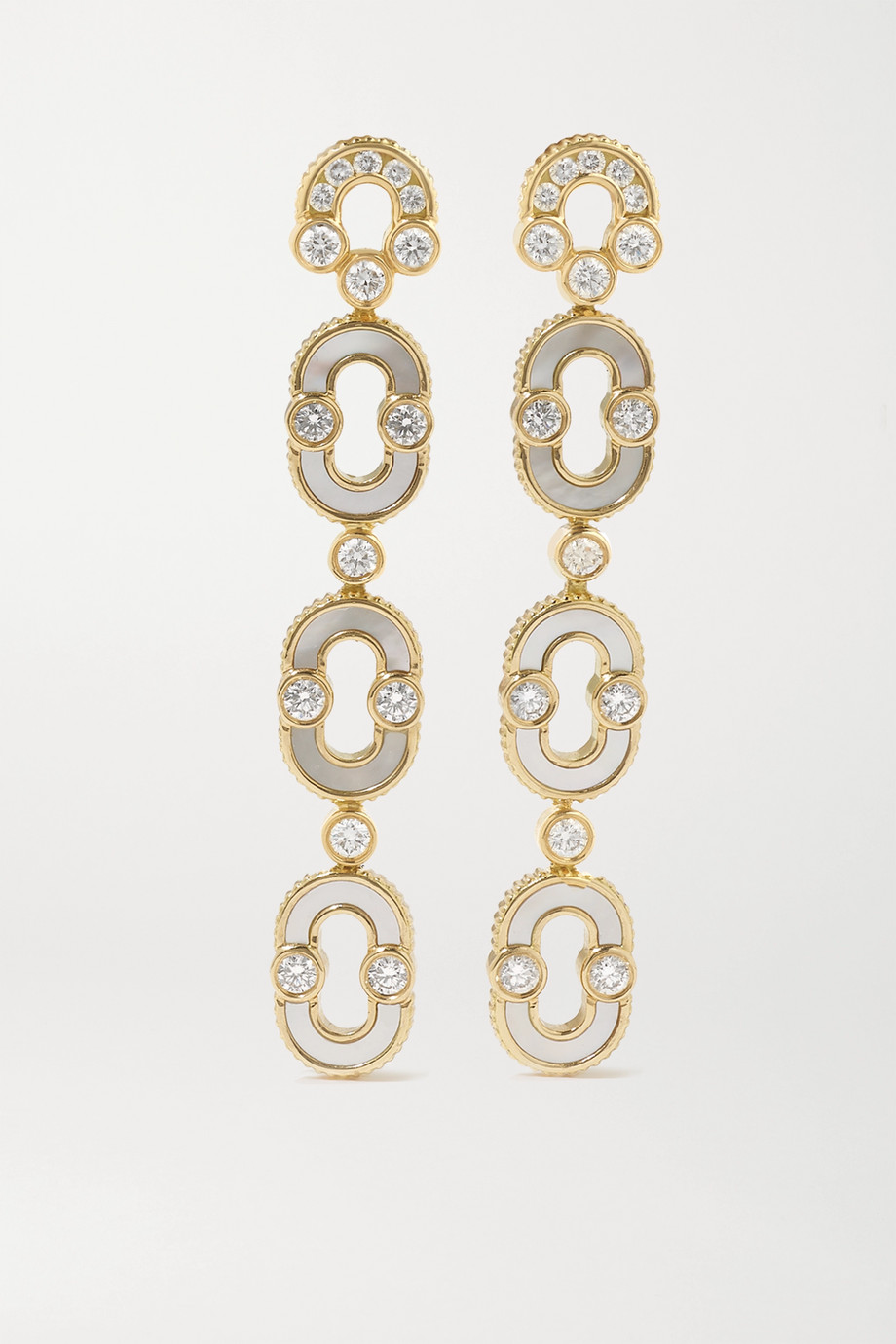 Viltier Magnetic Trio 18-karat gold, mother-of-pearl and diamond earrings