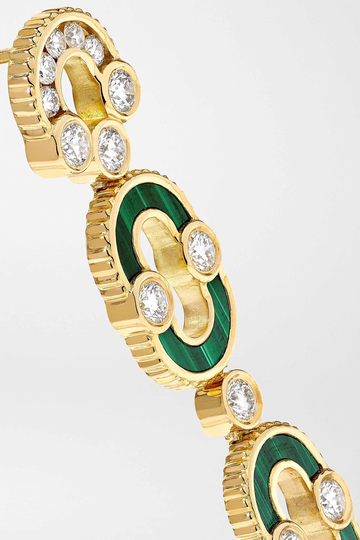 Viltier + NET SUSTAIN Magnetic Duo 18-karat gold, malachite and diamond earrings