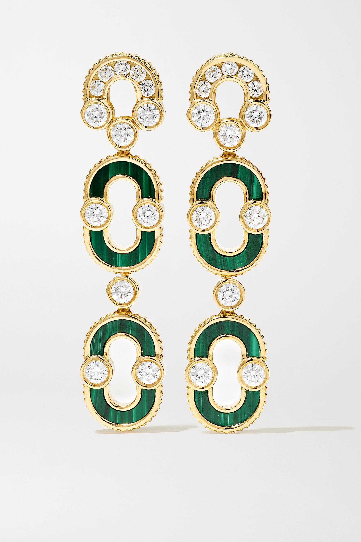 Viltier Boucles d'oreilles en or 18 carats, malachites et diamants Magnetic Duo - NET SUSTAIN