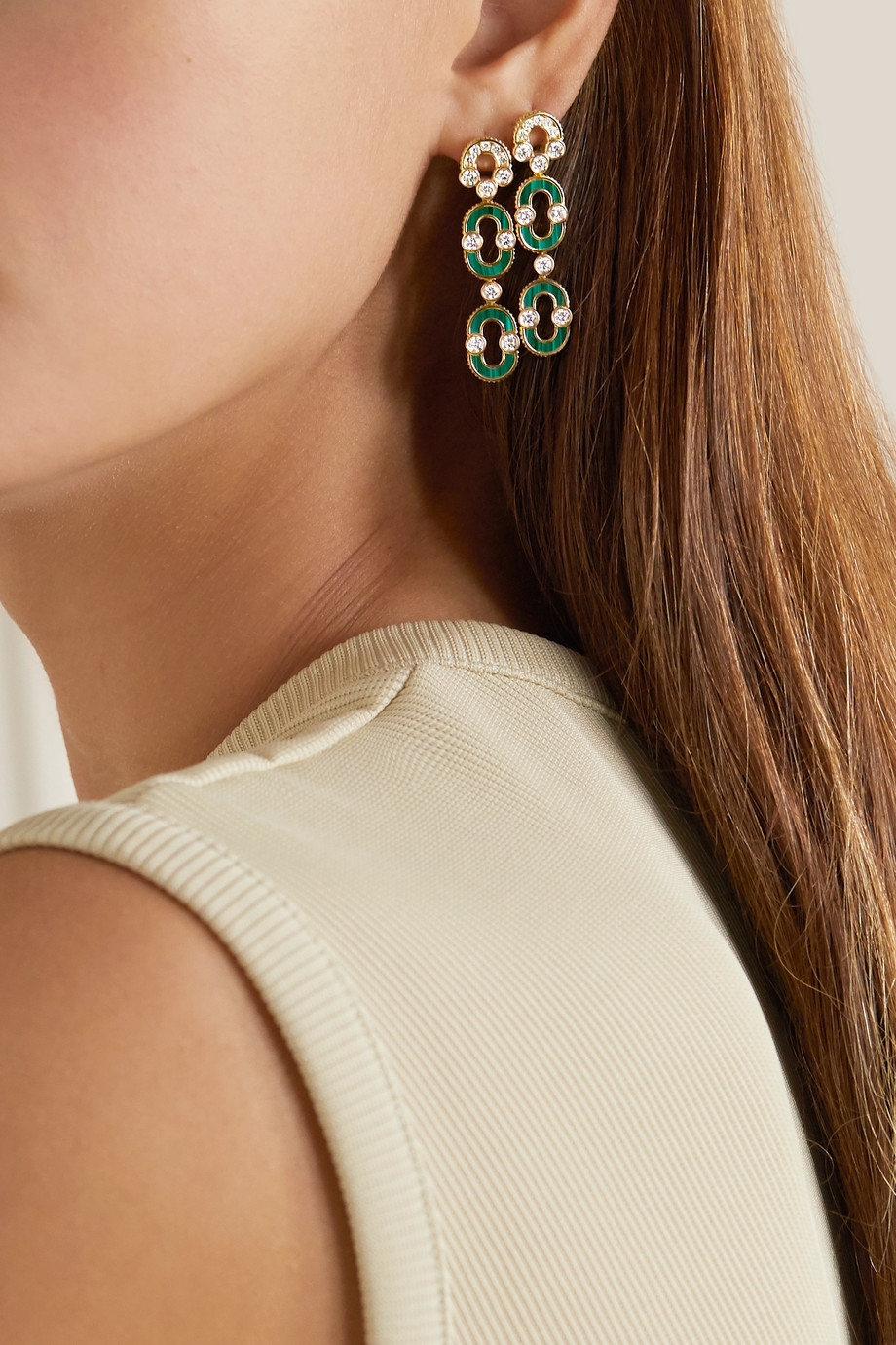 Viltier Boucles d'oreilles en or 18 carats, malachites et diamants Magnetic Duo