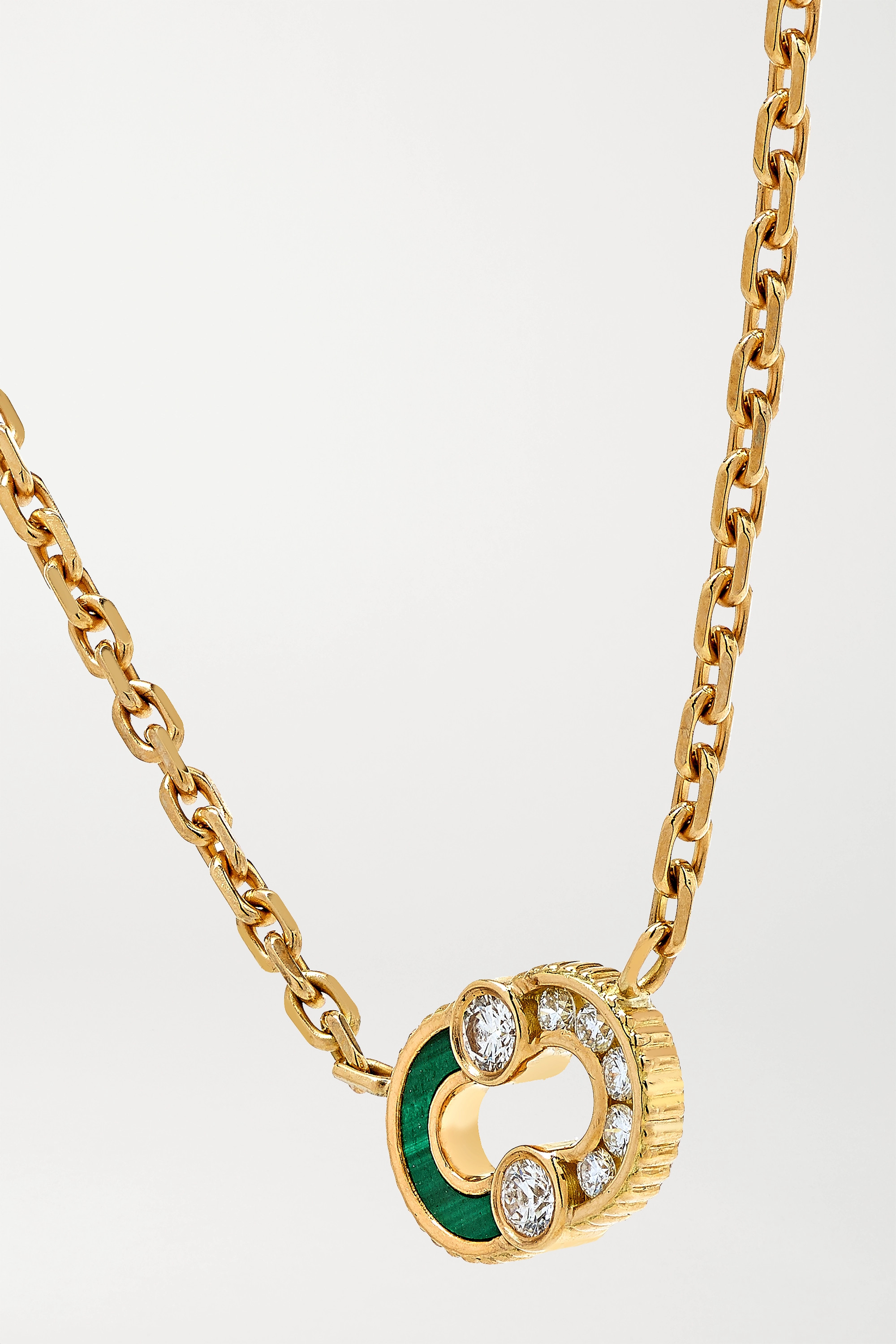 Viltier Collier en or 18 carats, diamants et malachite Magnetic Semi - NET SUSTAIN
