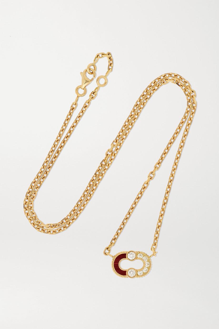 Viltier Magnetic Semi Kette aus 18 Karat Gold mit Diamanten und Ochsenauge