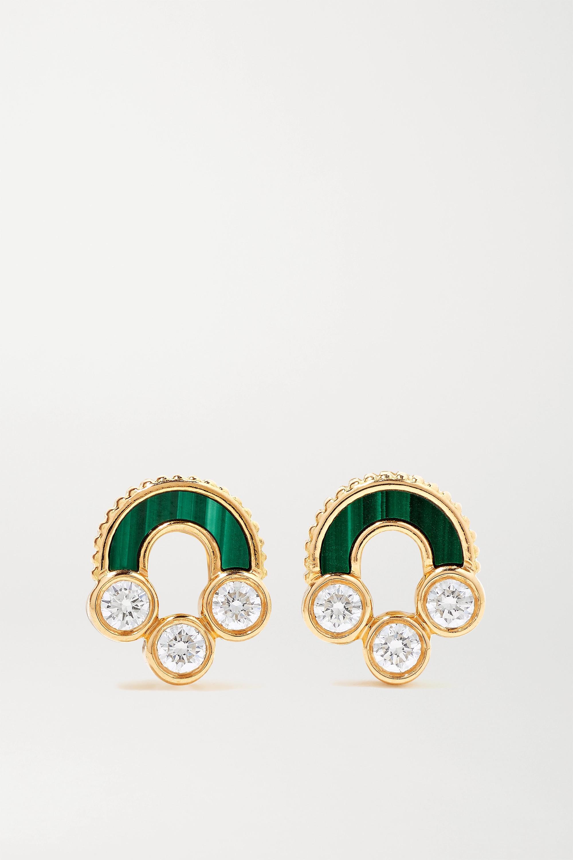 Viltier Boucles d'oreilles en or 18 carats, malachites et diamants Magnetic Studs - NET SUSTAIN