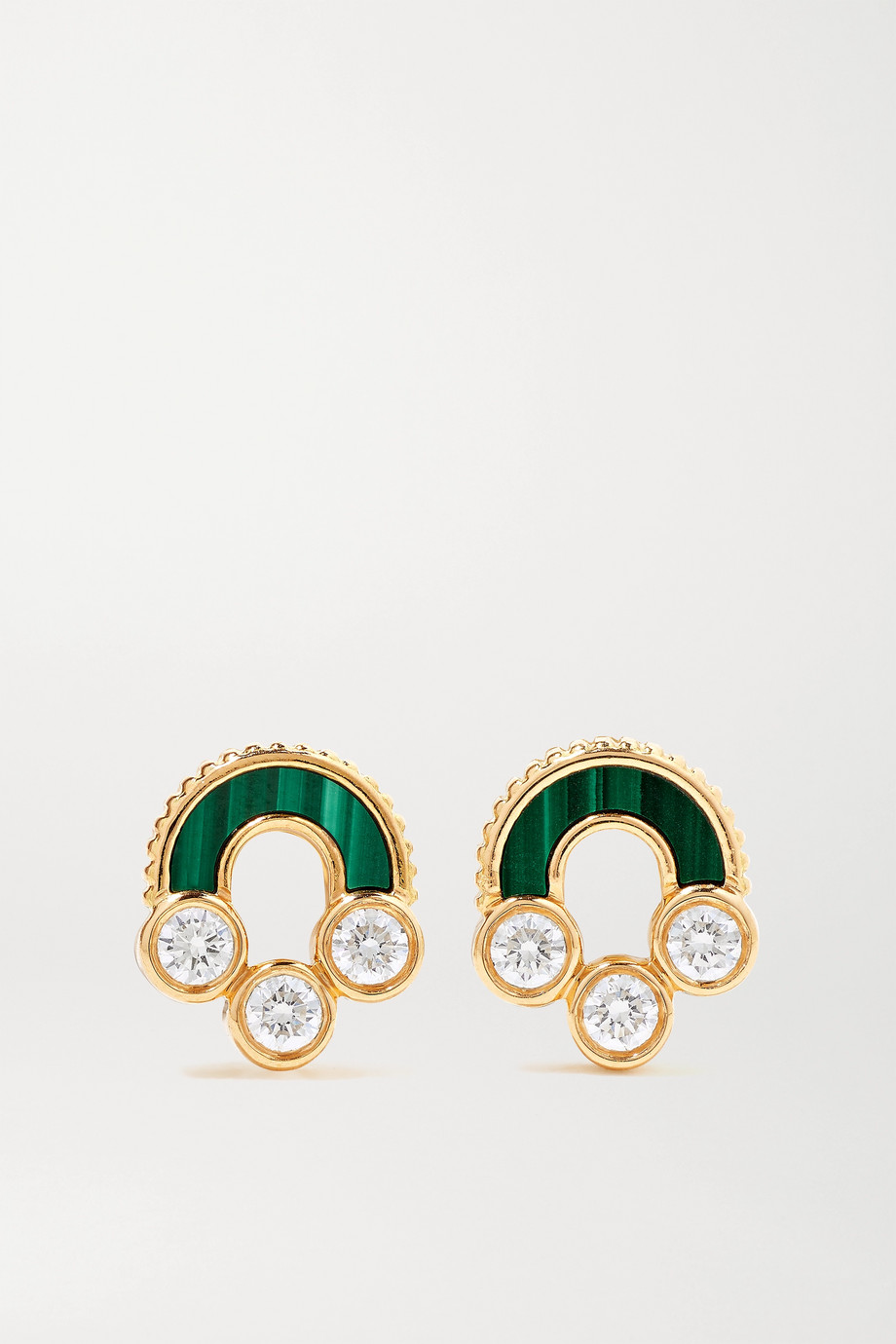 Viltier Boucles d'oreilles en or 18 carats, malachites et diamants Magnetic Studs - NET SUSTAIN