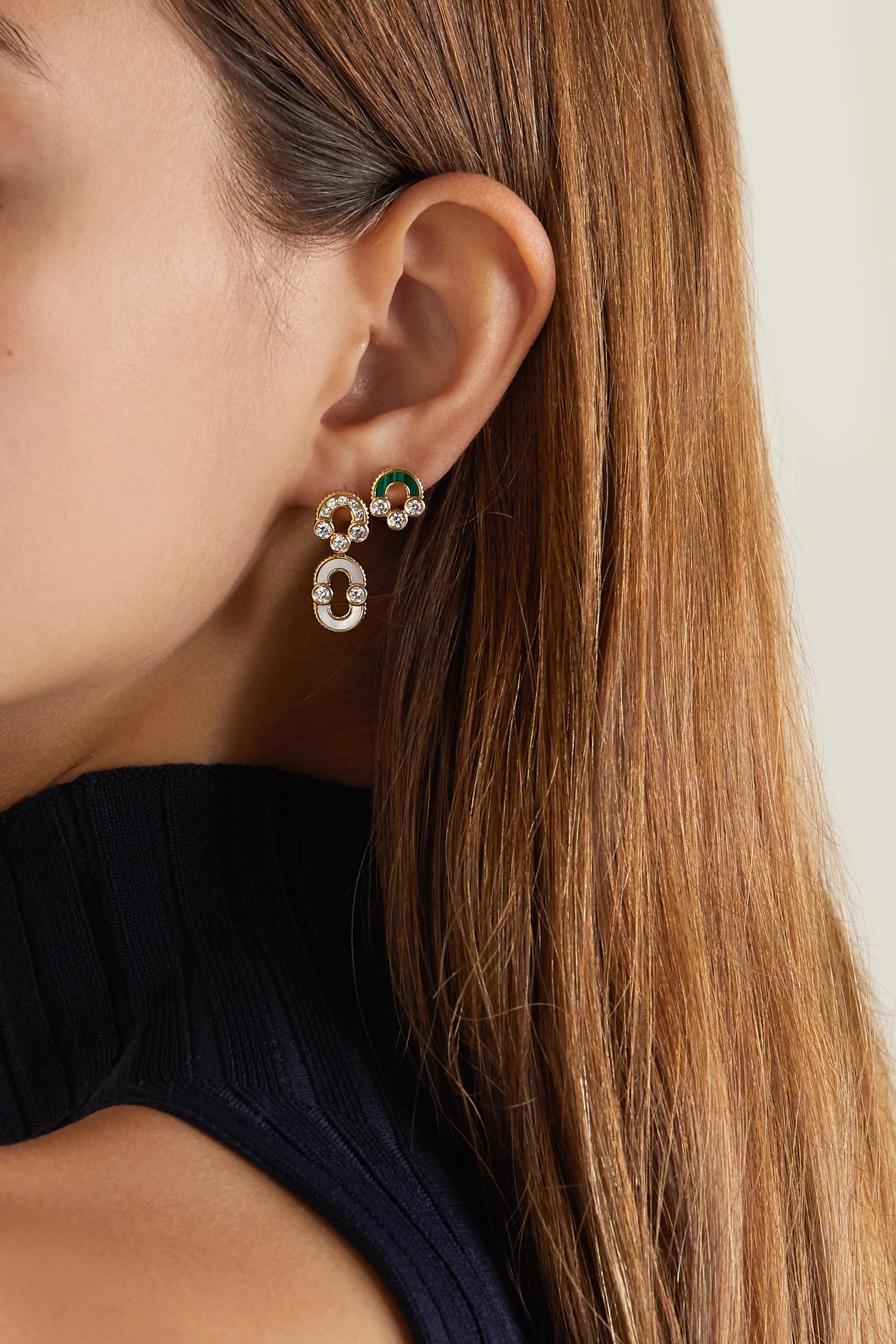 Viltier + NET SUSTAIN Magnetic Studs 18-karat gold, malachite and diamond earrings