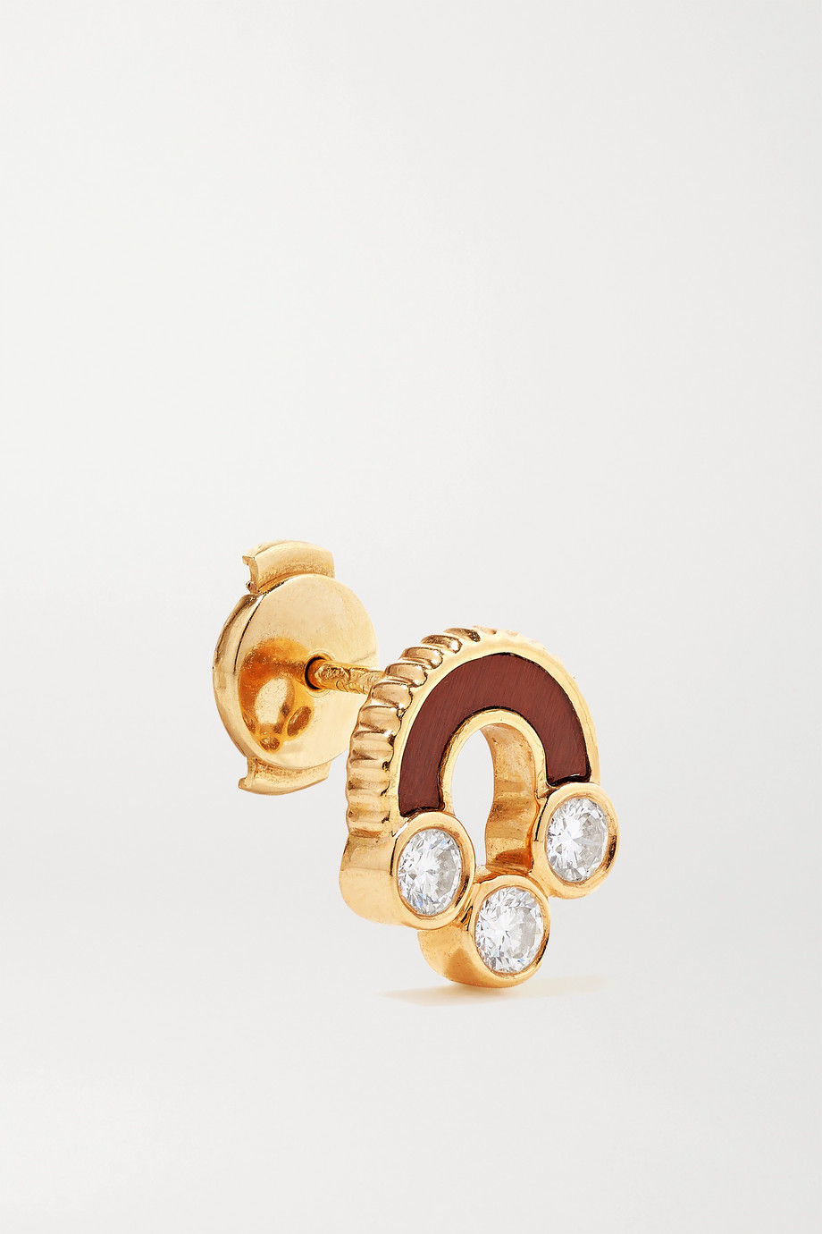 Viltier Magnetic Studs 18-karat gold, bull's eye and diamond earrings