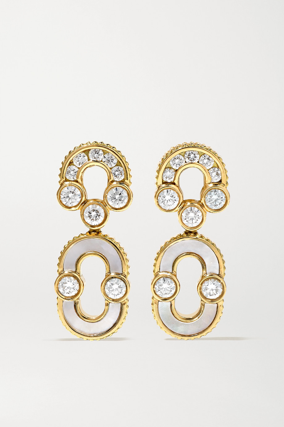 Viltier + NET SUSTAIN Magnetic Solo 18-karat gold, diamond and mother-of-pearl earrings