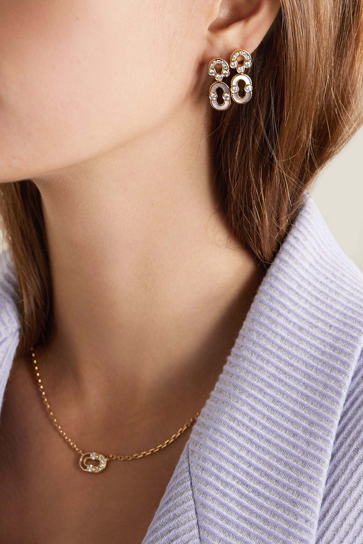 Viltier + NET SUSTAIN Magnetic Solo Ohrringe aus 18 Karat Gold mit Diamanten und Perlmutt