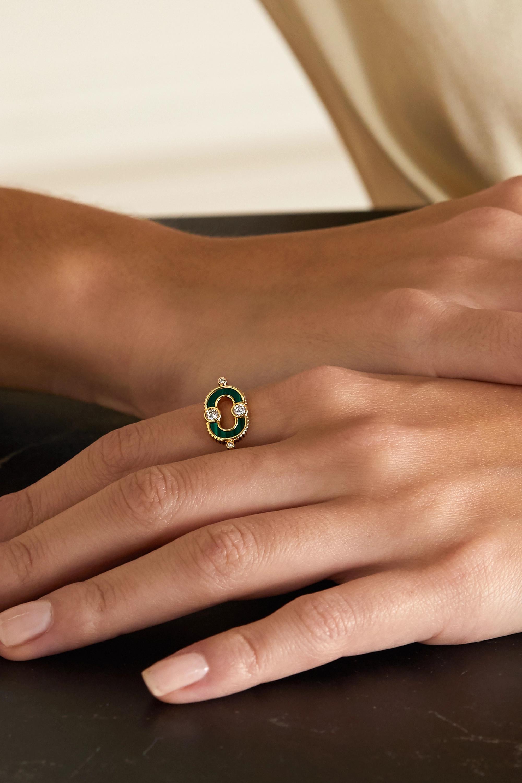 Viltier Bague en or 18 carats, malachite et diamants Magnetic - NET SUSTAIN