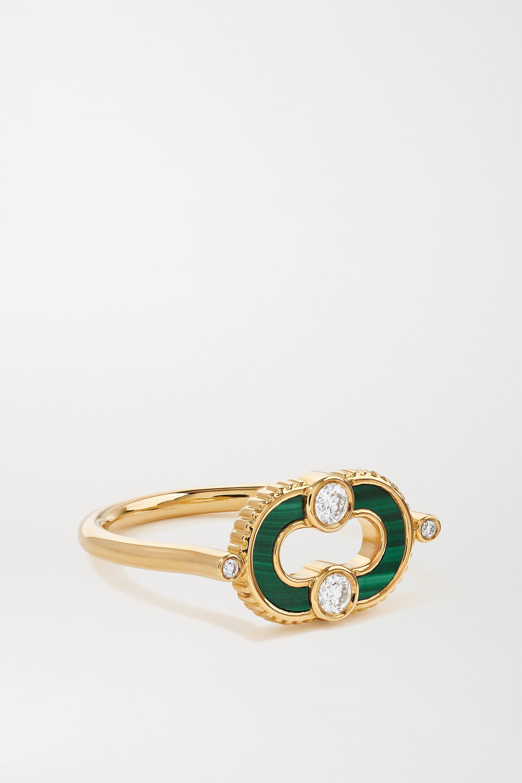 Viltier Magnetic Ring aus 18 Karat Gold mit Malachit und Diamanten