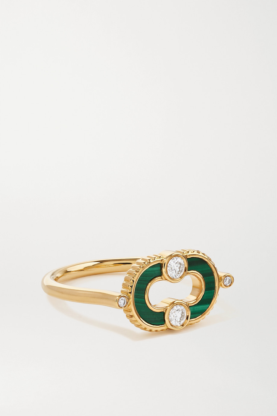 Viltier Bague en or 18 carats, malachite et diamants Magnetic