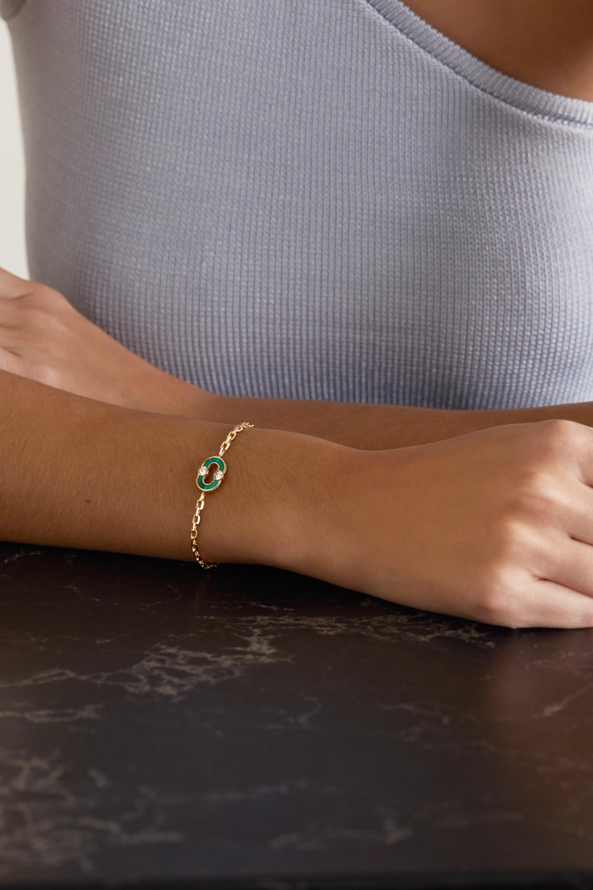 Viltier + NET SUSTAIN Magnetic Recto-Verso Armband aus 18 Karat Gold mit mehreren Steinen