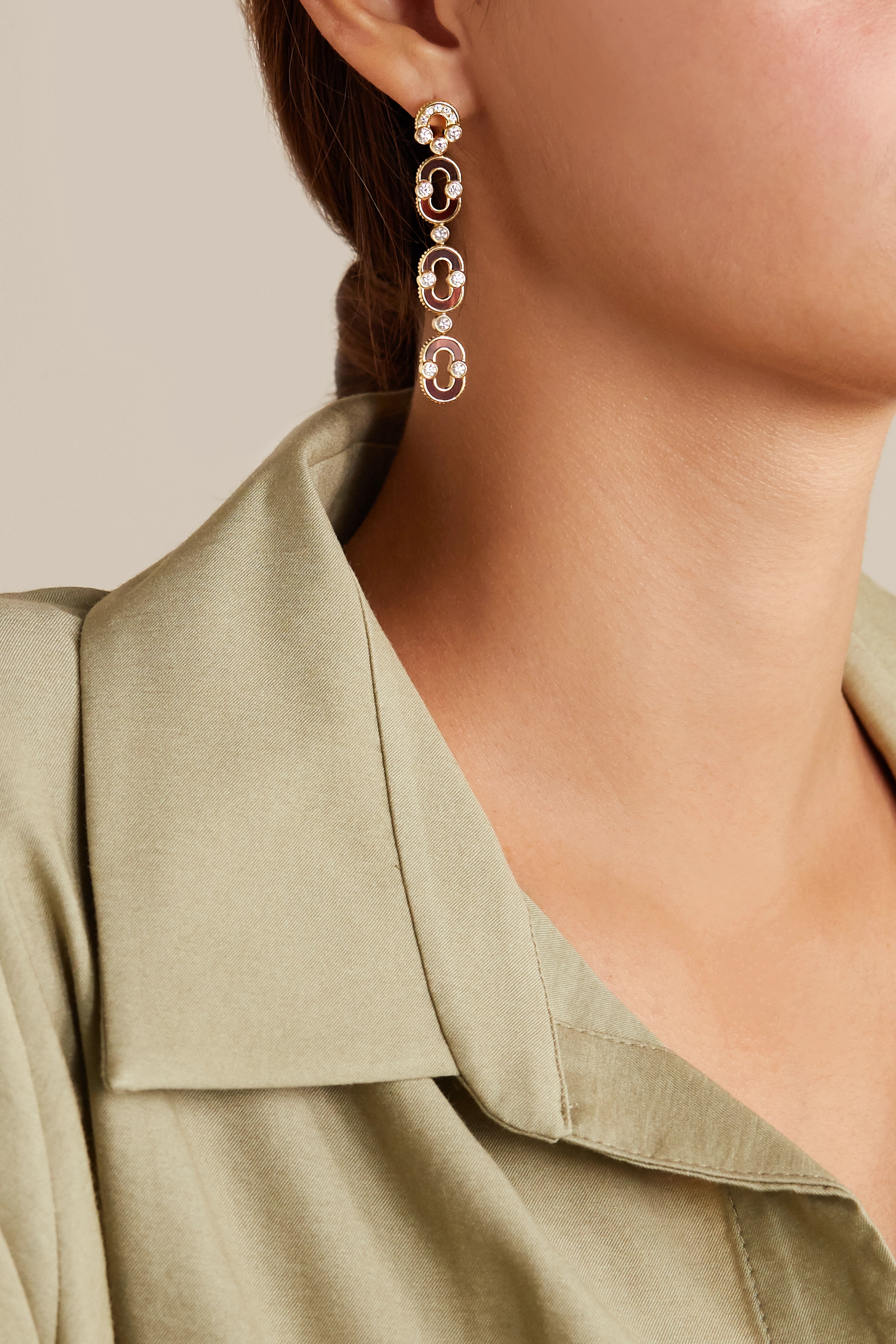 Viltier + NET SUSTAIN Magnetic Trio 18-karat gold, bull's eye and diamond earrings