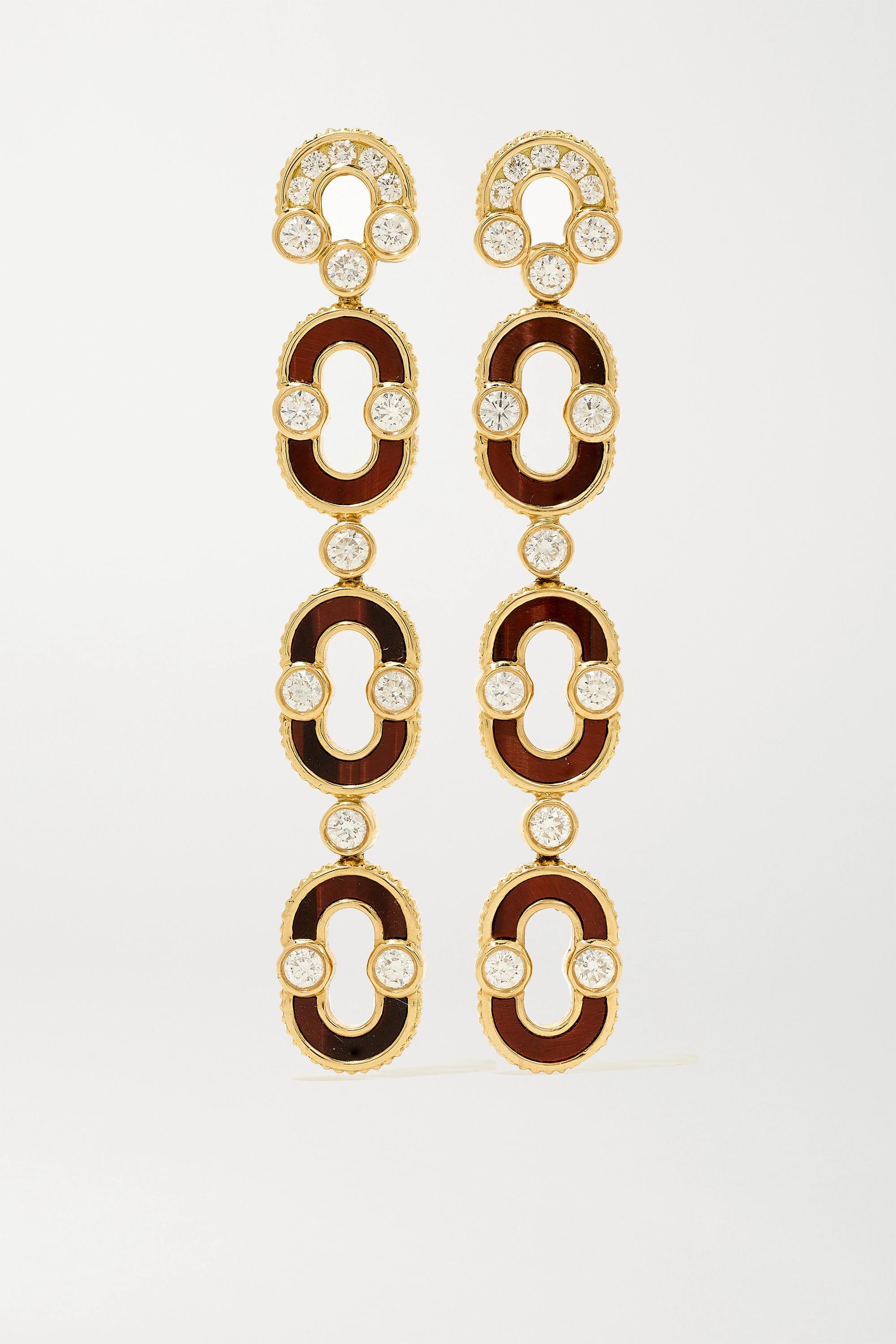 Viltier + NET SUSTAIN Magnetic Trio Ohrringe aus 18 Karat Gold mit Ochsenauge und Diamanten