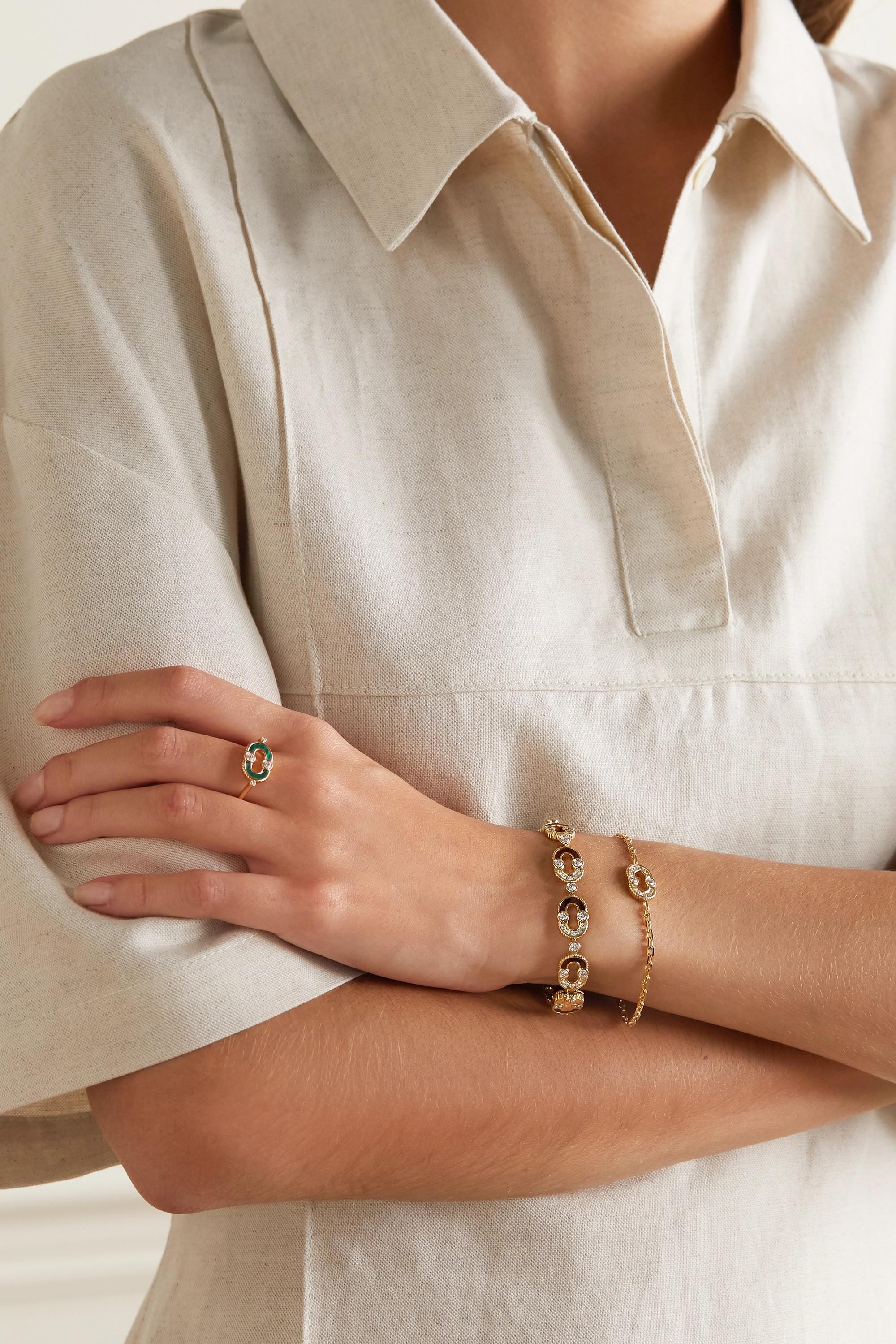 Viltier + NET SUSTAIN Magnetic Etreinte 18-karat gold, diamond and bull's eye bracelet