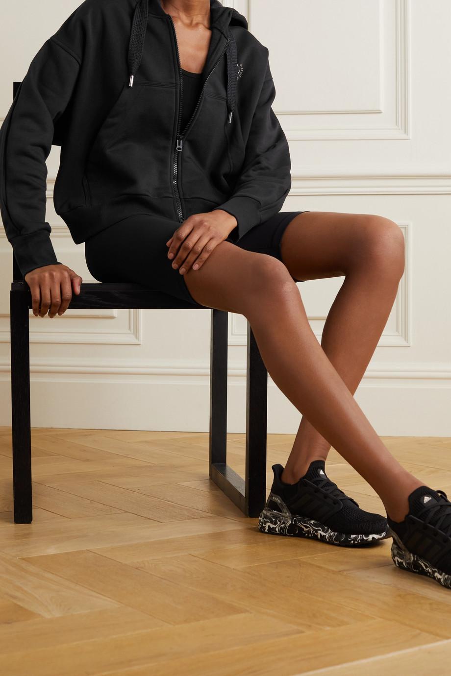 adidas by Stella McCartney Cropped organic cotton-blend jersey hoodie